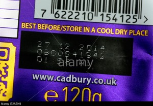 Bar code and best before date code on a bar of Cadbury's Chocolate